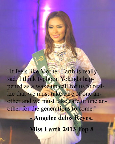 Angelee delos Reyes answer in Miss Earth 2013