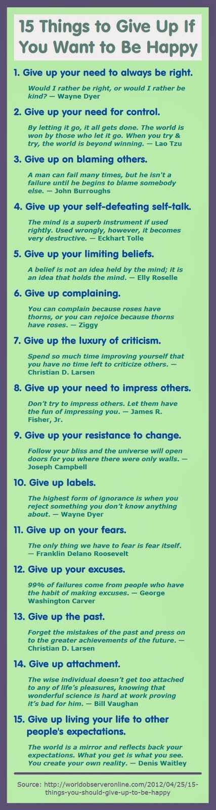 Things to Give Up for Happiness